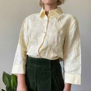 [Vintage] Pale yellow embroidered linen blouse